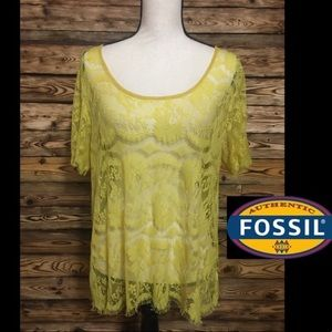 Fossil Mustard Sheer Lace Layering Top🎉M
